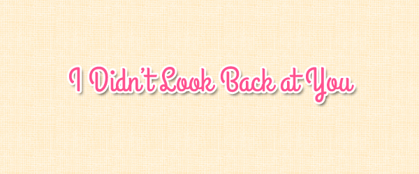 I Didn't Look Back at You