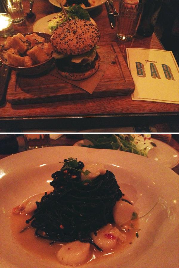 Jamie's Italian: Jamie's Italian Burger & black angel pasta